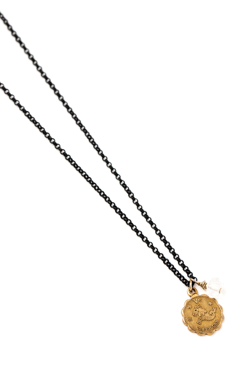 Zodiac Charm Necklace w/ Two-Point Crystal on Black Rolo Chain