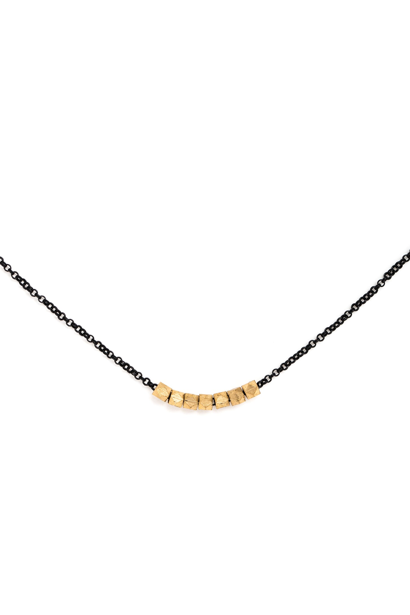 Small Gold Geometric Bead Necklace on Black Chain