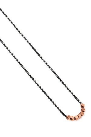 Small Rose Gold Geometric Bead Necklace on Black Chain