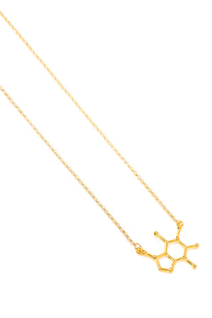 Gold Caffeine Molecule Necklace