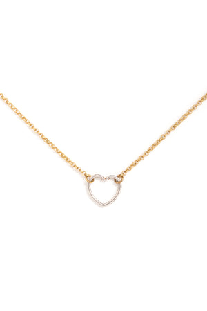 Silver Heart Necklace on Gold Chain