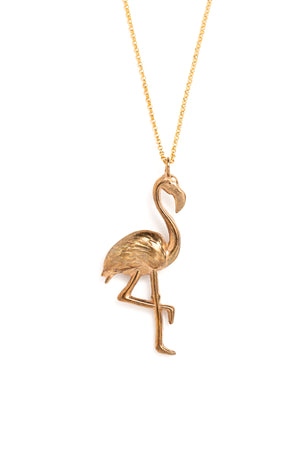 Cast Bronze Flamingo Necklace (closeup)