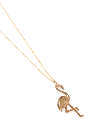 Cast Bronze Flamingo Necklace on a Gold Chain