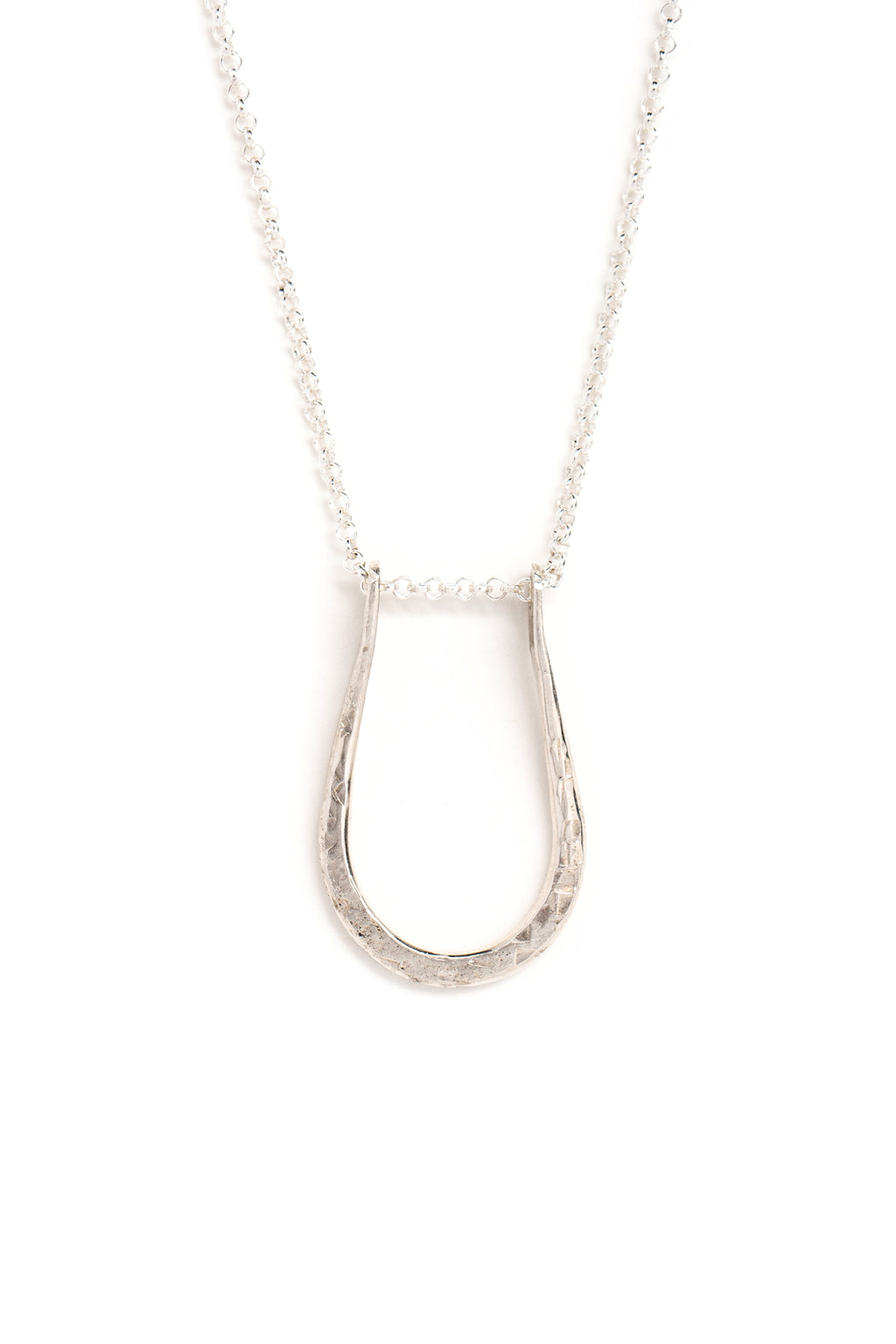 "Silver Pinched ""U"" Necklace (closeup)"
