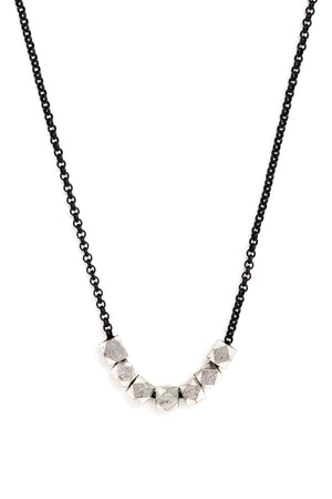 Small Silver Geometric Bead Necklace on Black Chain