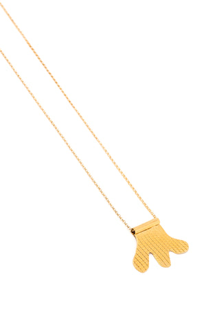 Gold Abstract Grid Necklace on a Gold Chain