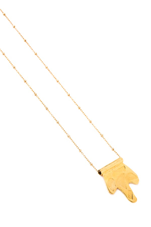 Golden Abstract Shape Pendant Necklace on a Gold Chain