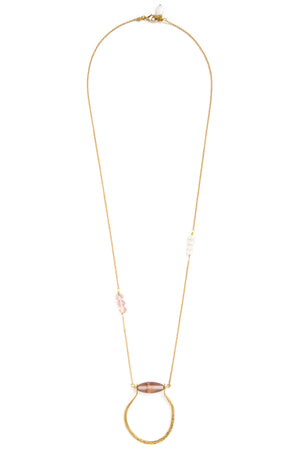 "Pinched ""U"" Pink + Pearl Necklace"