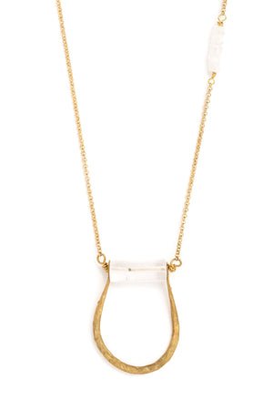"Pinched ""U"" Crystal Cylinder Necklace on Gold Chain"