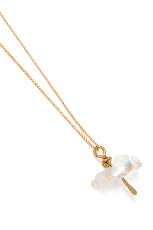 Crystal Chunk Necklace on Gold Chain