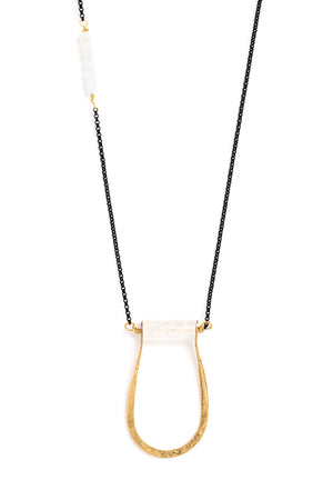 "Pinched ""U"" Crystal Cylinder Necklace on Black Chain"