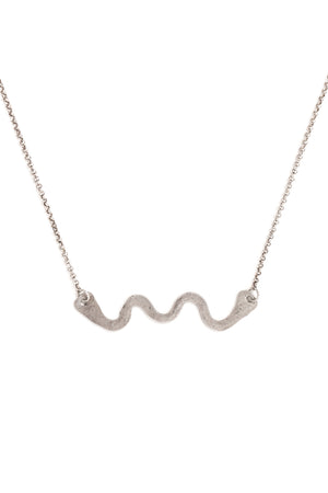 CAT LUCK Silver Swiggle Necklace
