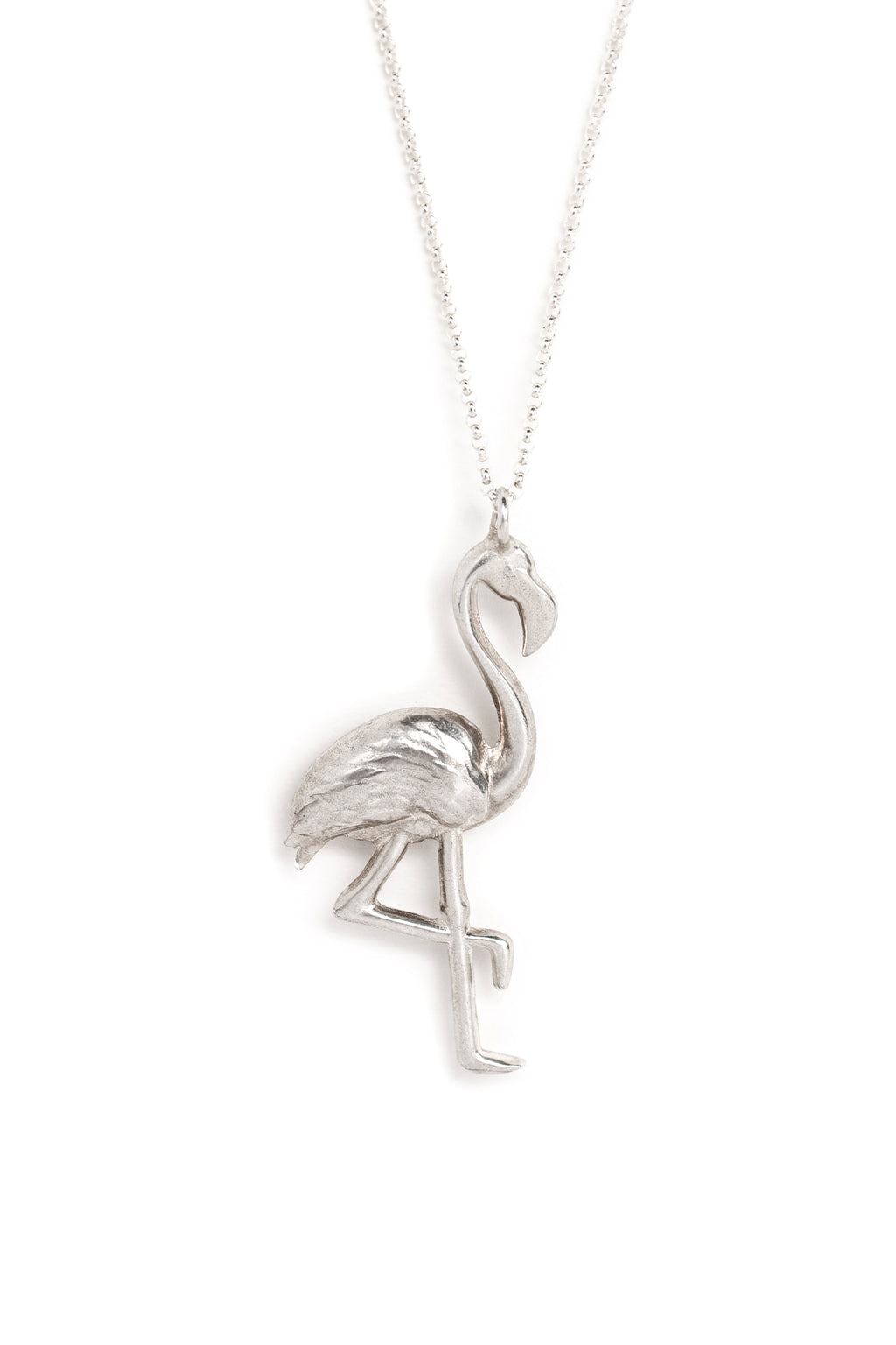 Cast Silver Flamingo Necklace (closeup)