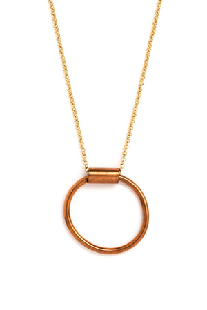"Copper ""Knock-Knock"" Necklace on Gold Chain"