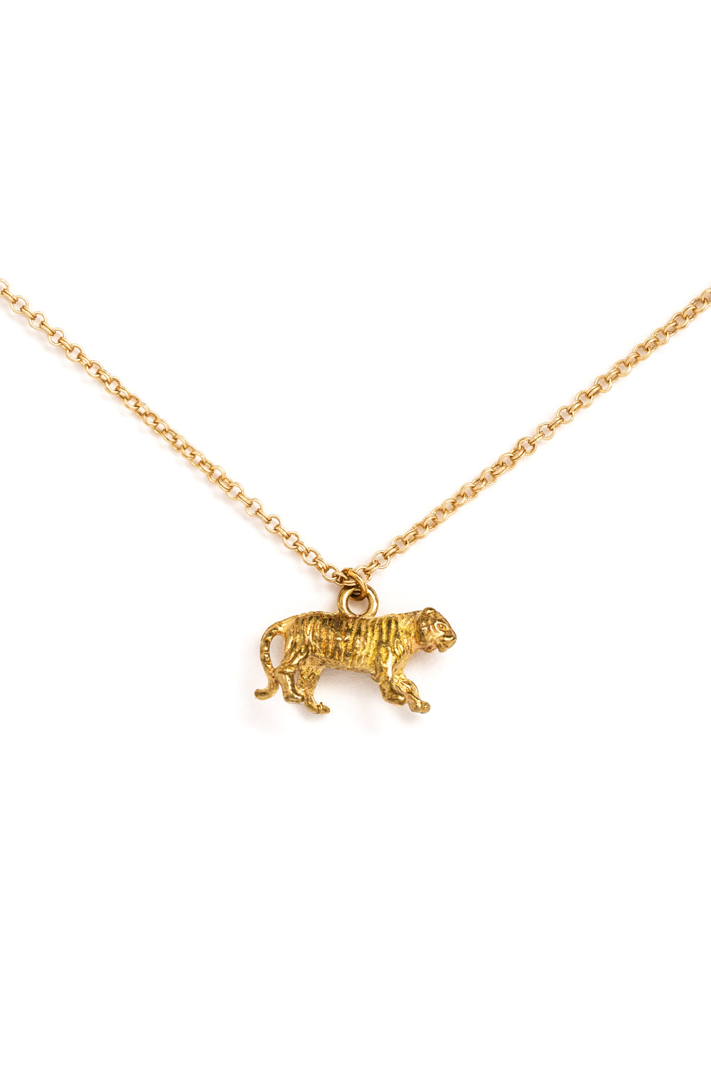 Brass Tiger Charm Necklace on Gold Chain (closeup)