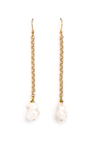 Raw Pearl Chain Earrings