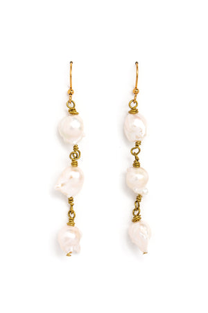 Raw Pearl Trio Earrings