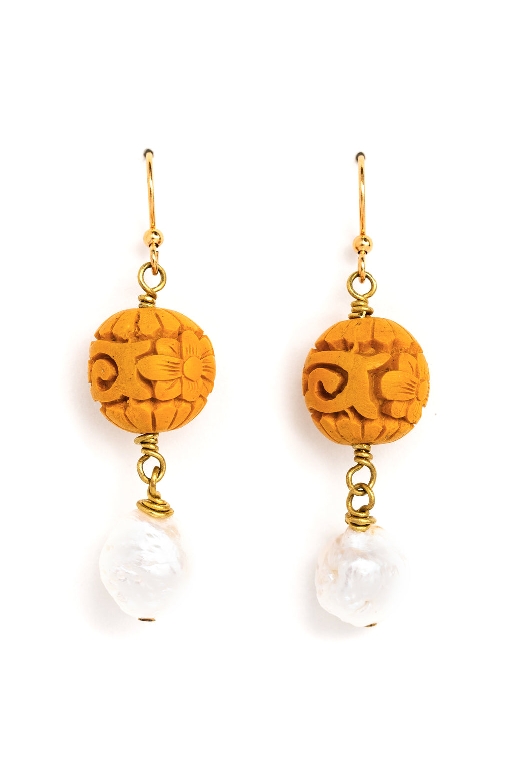 Gold Cinnabar + Pearl Earrings