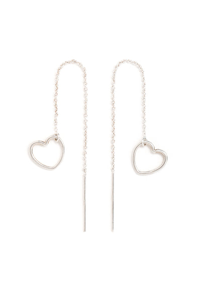 CAT LUCK Silver Heart Ear Threads