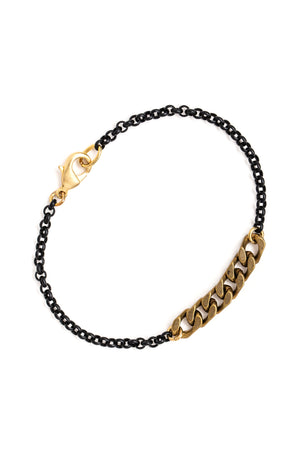 Brass Chain Bracelet with a Black Chain