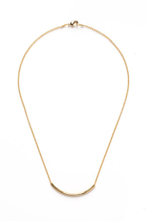 Gold Curve Bar Necklace on Gold Chain