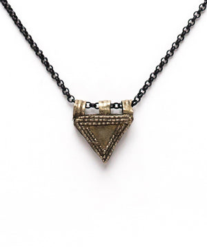 Silver Tribal Triangle Necklace on Black Chain