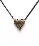 Silver Tribal Triangle Pendent on Black Chain