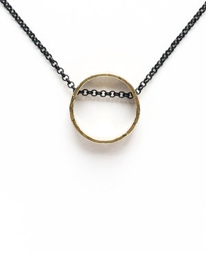 Floating Circle Necklace on Black Chain