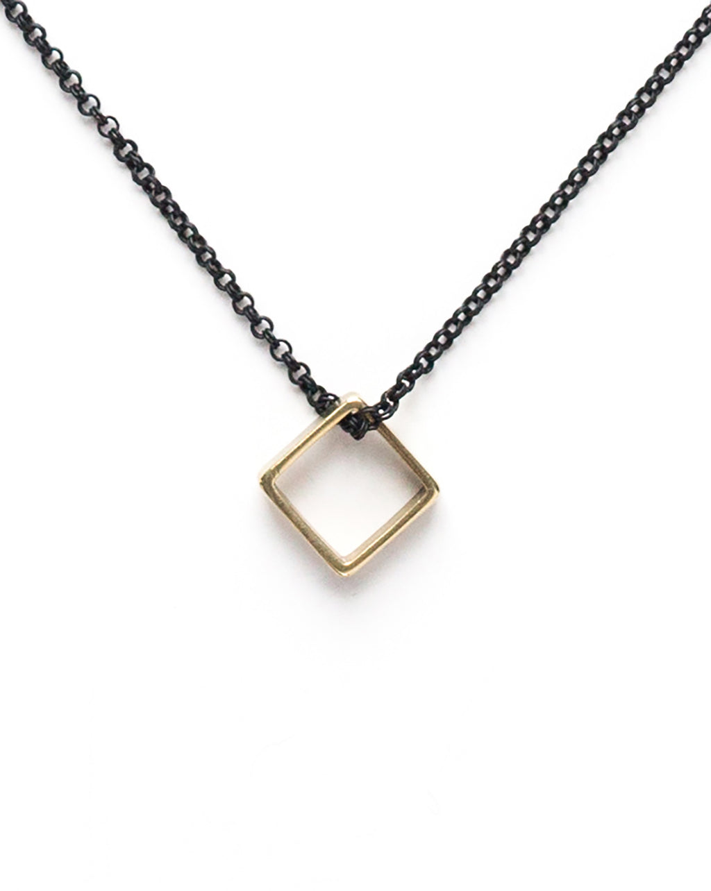 Brass Square Necklace on Black Chain