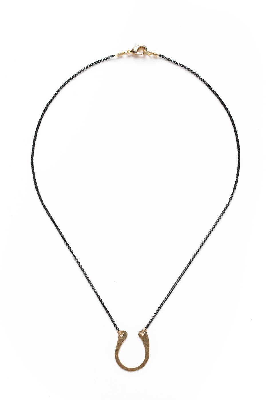 Horseshoe Hammered Goldfill Necklace with Black Chain