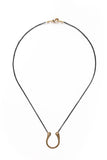"14K GF Hammered ""U"" Necklace on Black"