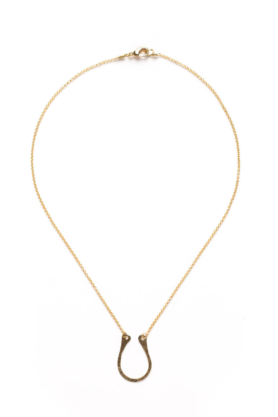 "14K GF Hammered ""U"" Necklace on Gold Chain"