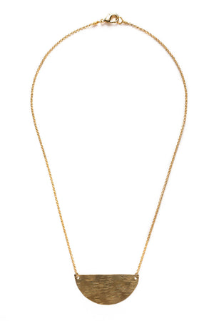 Large Brass Half Moon Necklace on Gold Chain