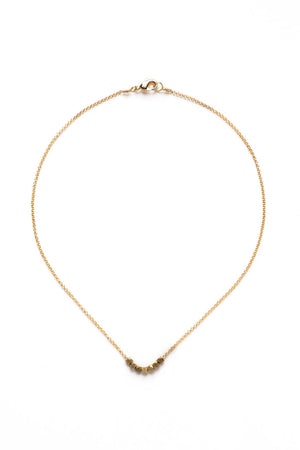Small Gold Geometric Bead Necklace on Gold Chain