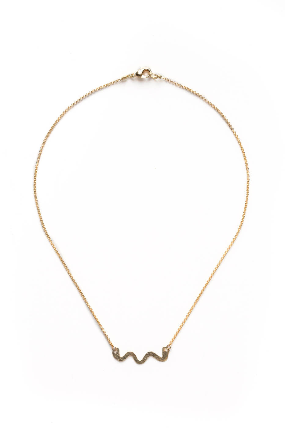 Brass Swiggle Necklace on Gold Chain