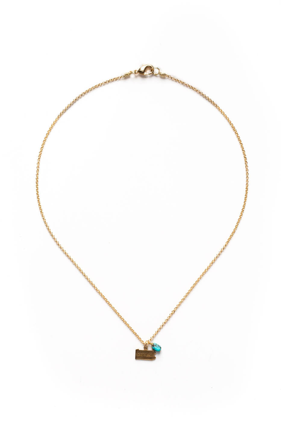 State Charm Necklace w/ Turquoise Nugget on Gold Rolo Chain