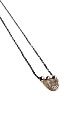 Silver Tribal Half Moon Pendent on Black Chain