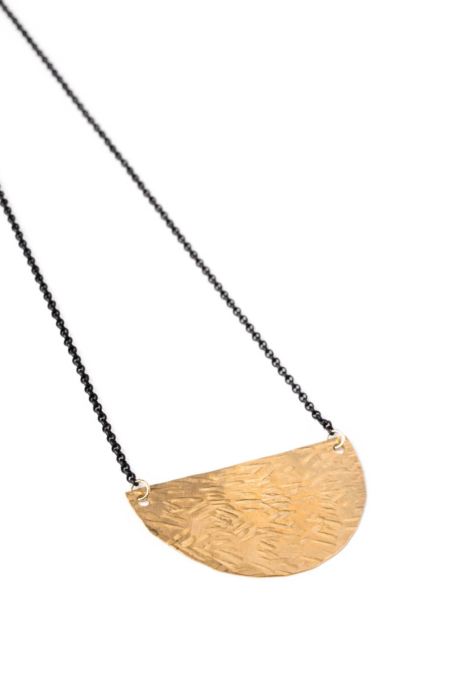 Large Brass Half Moon Necklace on Black Chain