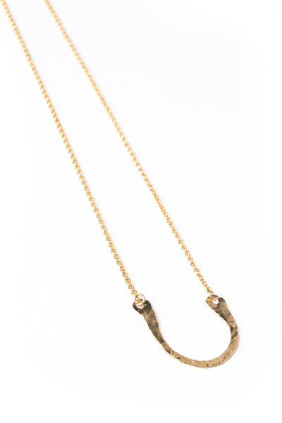 "14K GF Hammered Wide ""U"" Necklace on Gold Chain"