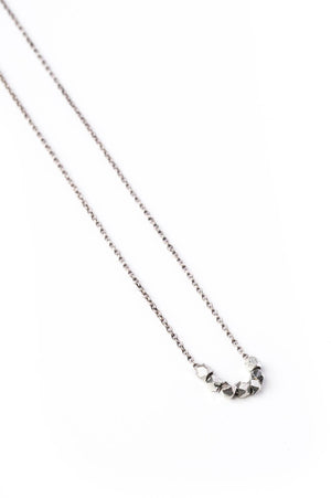 Small Silver Geometric Bead Necklace on Silver Chain