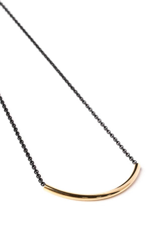 Gold Curve Bar Necklace on Black Chain