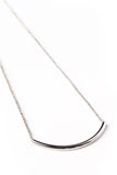 Silver Curve Bar Necklace on Silver Chain