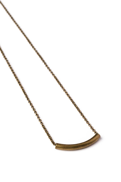 Small Brass Curve Bar Necklace