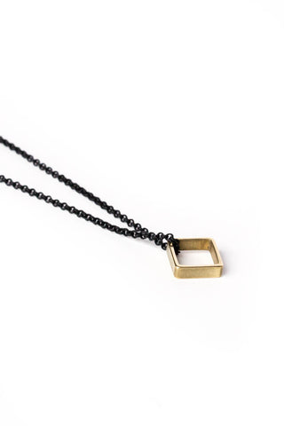 Brass Square on Black Chain Necklace