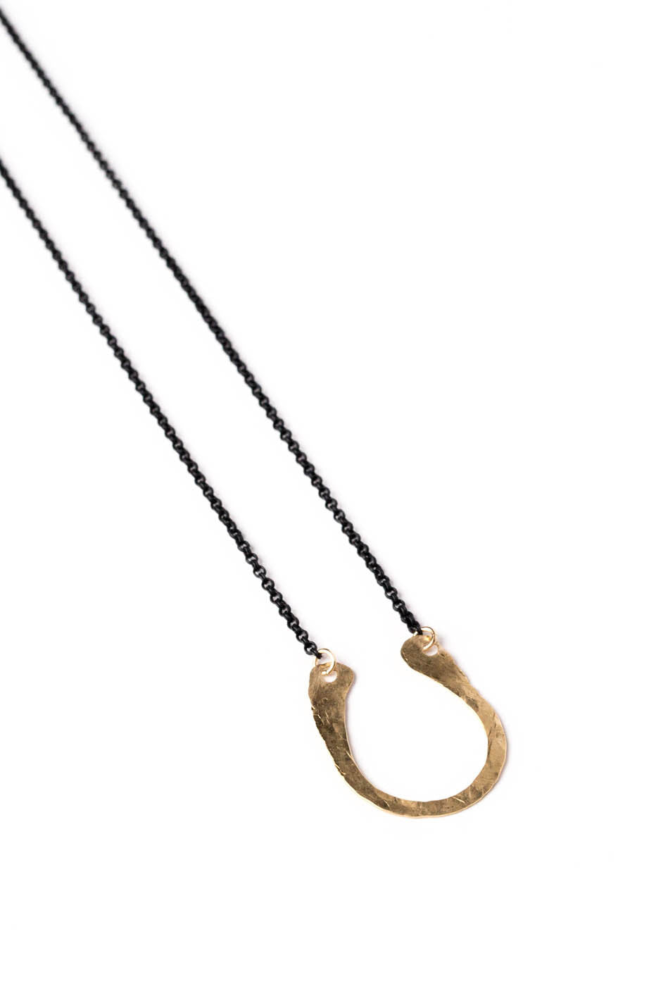 Horseshoe Hammered Goldfill Necklace (Black Chain)