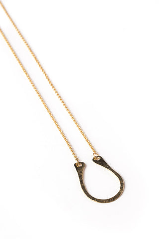 "14K GF Hammered ""U"" Necklace on Gold Rolo Chain"