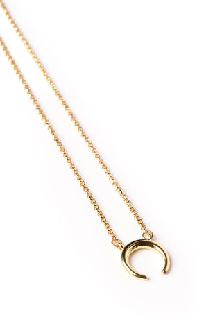 Upside Down Crescent Moon on Gold Chain Necklace