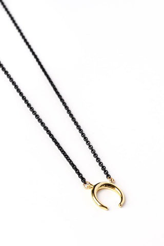 Upside Down Crescent Moon on Black Chain Necklace