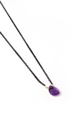 Amethyst Drop on Black Chain