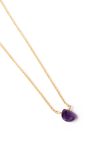 Amethyst Drop on Gold Chain